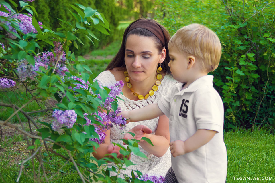 Greyson and mom with lilacs