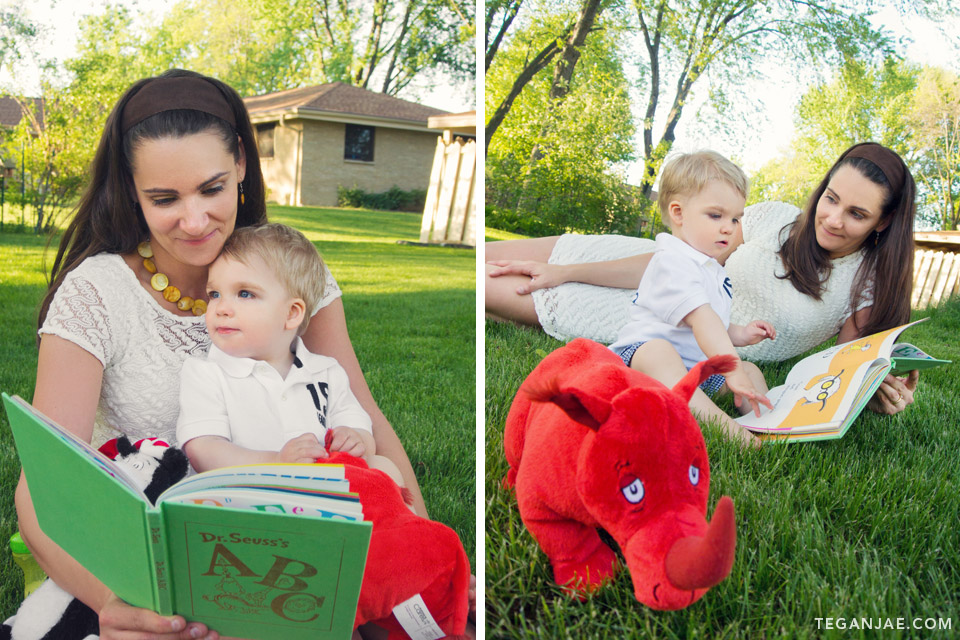 Greyson story time with Dr. Seuss and mom