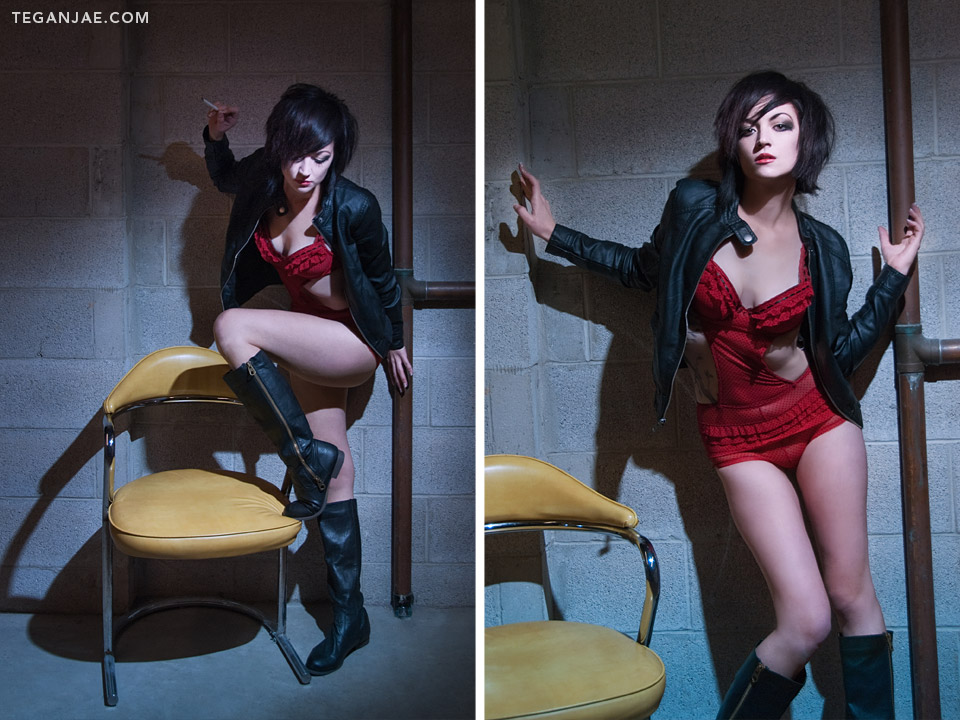 Red-Lingerie-Black-Leather-Jacket-Smoking-001