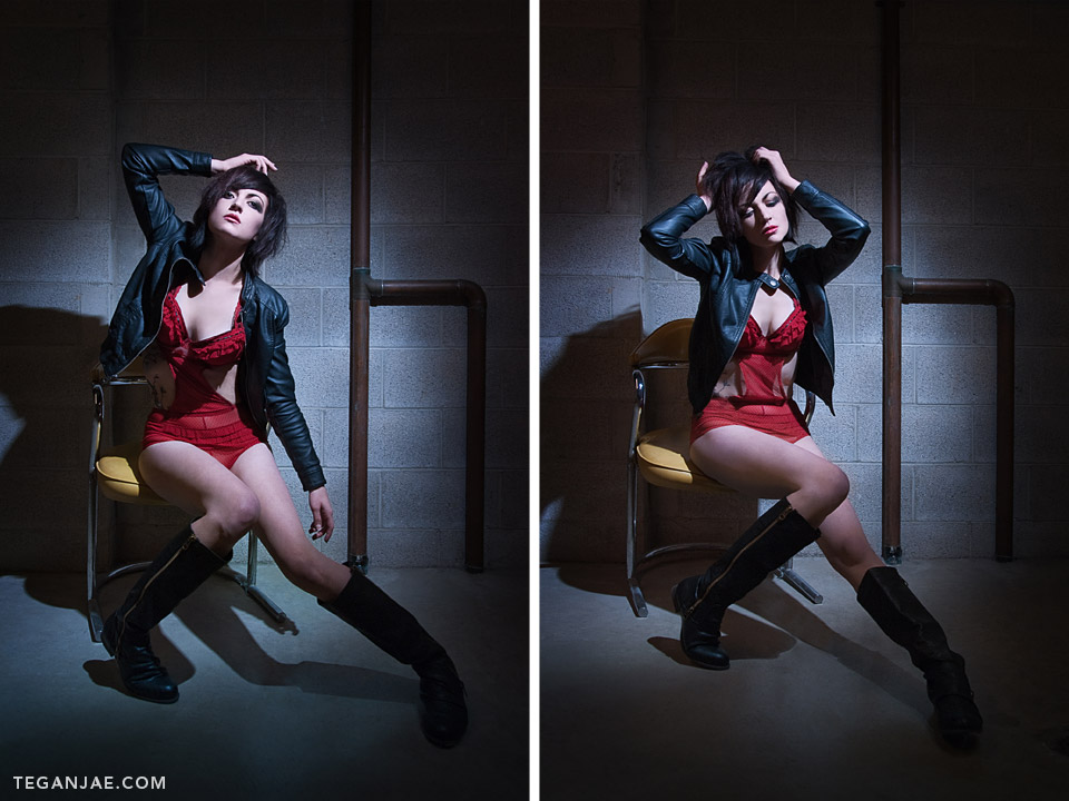 Red-Lingerie-Black-Leather-Jacket-Smoking-003