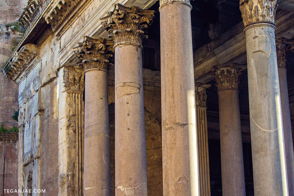 Pantheon columns in Rome, Italy by Tegan Jae
