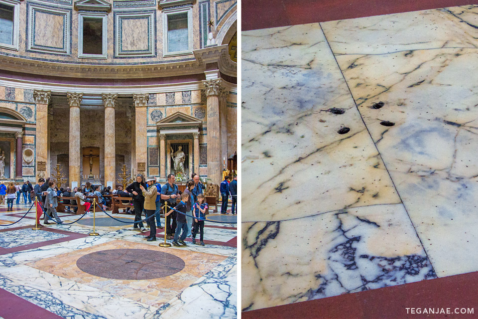 Pantheon rain holes in Rome, Italy by Tegan Jae